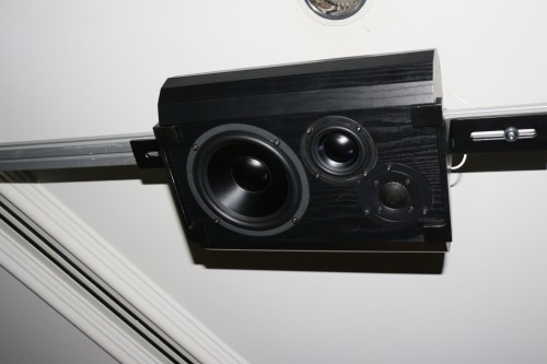 The ceiling Bryston speaker in AV Designs' Dolby Atmos AV system.