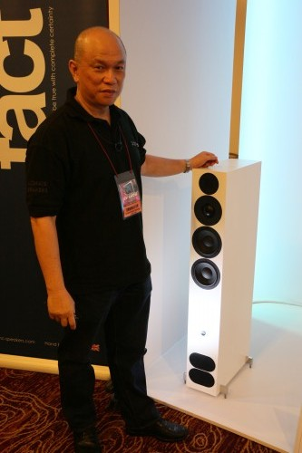 AV Designs' James Tan and the PMC Fact 12 speakers.