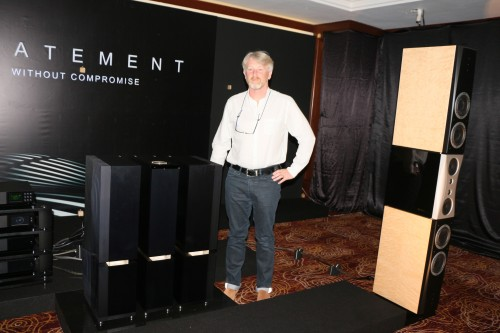 Naim's sales director Doug Graham posing beside the Naim Statement pre and power amps that cost around RM700k.