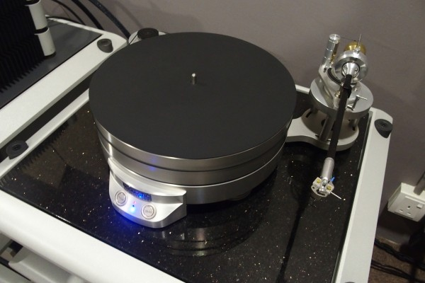 The Acoustic Signature turntable in the smaller listening room.