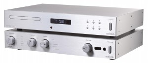Audiolab's 8200CD CD player and 8200A Integrated amplifier, stacked perfection.